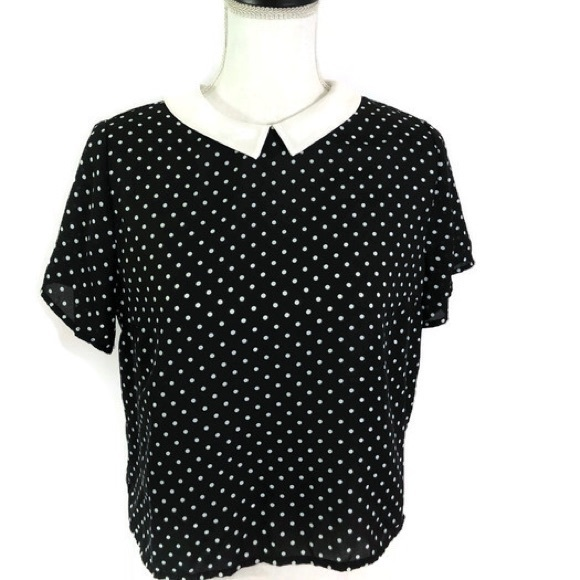 597a9f2a79b029 Atmosphere Tops - Atmosphere Black and White polka Dot top.